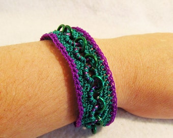 Crochet and Chainmaille  bracelet, green and purple
