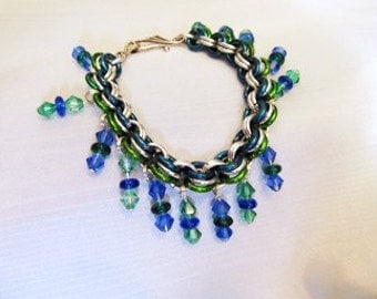Bead Bracelet or Anklet- Chain maille, Blue, green, silver