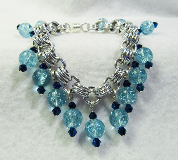 Blue Bead Bracelet or Anklet- Chain maille