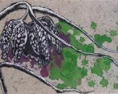 Original botanical ink painting on handmade paper, Spring Fritillaria