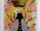 Queen Bee, Gold Crown, Pink flowers, Encaustic mixed Media collage 8x10 Print, Free Shipping in the USA