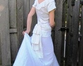 Vintage 1930s/1940s Spring Wedding Dress, Short Sleeved in Ivory Jacquard Damask with Bow Bustle