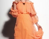 RESERVED FOR READYTOWEAR Vintage 1970s Apricot Orange Evening Gown, Sheer Maxi Dress w/Ruffles & Tiers