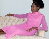 Vintage 1960s Evening Dress in Fuschia Pink Chiffon with Beaded Sequined Neck & Cuffs