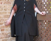 RESERVED FOR FUTUREKIND Vintage Hooded Cloak/Cape & Long Skirt Set in Black Wool by Women's Haberdashers