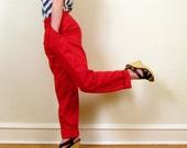 Vintage 1980s Red Pants by Oscar De La Renta, High Waisted, Large
