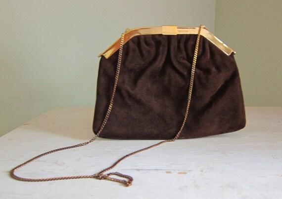 Vintage Harry Levine Brown Suede and Gold Chain Handbag
