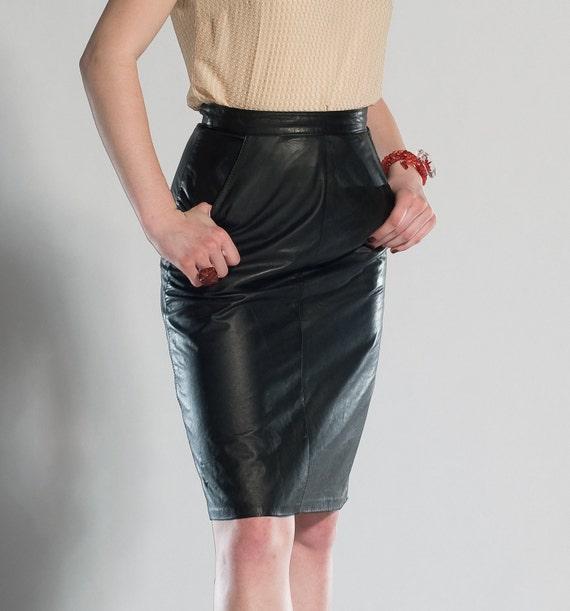 Vintage 1980s Black Leather Pencil Skirt Leather Loft