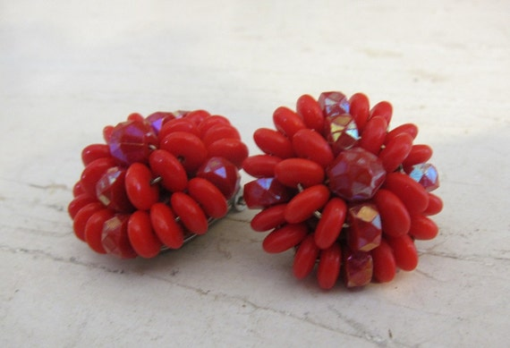 Vintage 1960s Red Lucite Earrings in Flower Shape, Clip Ons from West Germany