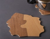 TRIVET - 'Shouting Men' design, Upcycled Hot Pot Base - Recycled Creations From Israel
