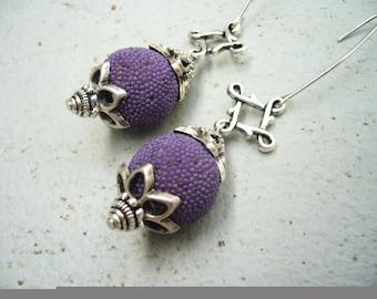 Spring purple kashmiri earrings