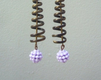 Purple dangle earrings, drop earrings, swirls earrings