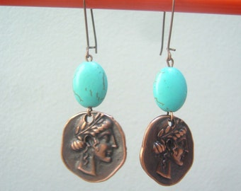 Ancient Greek girls and Turquoise gems earrings
