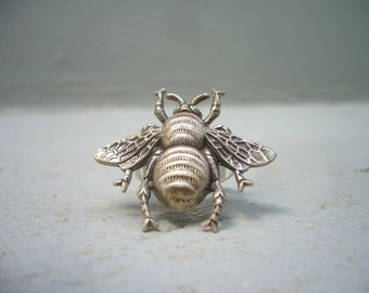 Insect silver ring, adjustable ring, statement ring