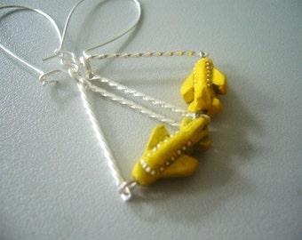 Yellow plane earrings