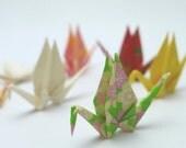 10 Super Miniature Washi Japanese Origami Paper Cranes - Random washi floral designs