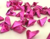 50 Tourmaline Pink shiny metallic Origami Lucky Hearts - custom order available
