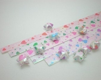 Love is in the Air - Sweet Heart Origami Lucky Star Paper Strips - pack of 80 strips