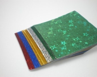 Gem Stone Star Glitter Origami Square Paper pack for Japanese Origami Crane Folding (40 sheets)