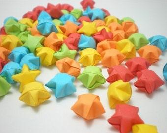 100 Rainbow Shower Origami Lucky Stars - custom order available