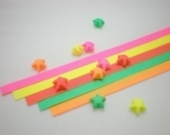 Striking Flourescent Solid Origami Lucky Star Paper Strips - pack of 80 strips