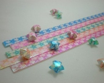 Treasures of the Sea II - Large Star Fish Pearlescent Origami Lucky Star Paper Strips - pack of 80 strips