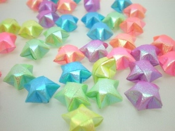100 Pearlescent Flourescent Spring Shower Origami Lucky Stars (Limited Lots left)