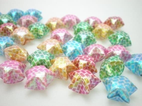 100 Tiny Brickwork Pearlescent Origami Lucky Stars