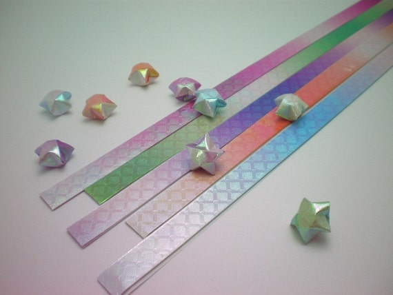 Magical Gradient (Part V) Pearlescent Origami Lucky Star Paper Strips with Prism effect  - pack of 80 strips