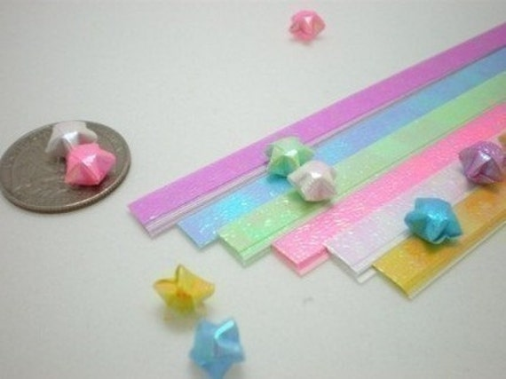 Pearlescent Fluorescent Spring Shower Miniature Origami Lucky Star Paper Strips - pack of 100 strips