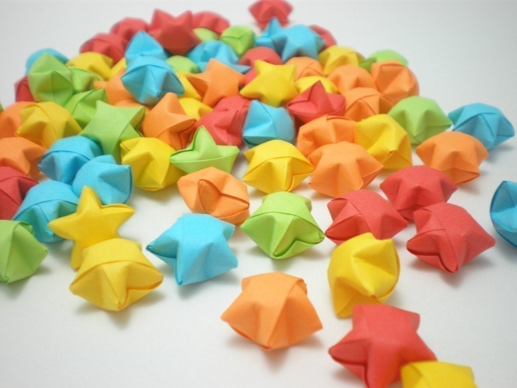lucky paper stars The so called lucky stars (folded paper stars, origami stars, lucky paper stars) that i was told are mainly significant to middle school and high school students, are somewhat of a ritual in this culture.