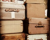 Vintage Suitcases Photograph Muted Tones Nostalgic 10x8 Print At The Station...