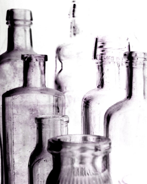 Old Bottles Photography Minimalist Purple 10x8 Print Old Bottles..