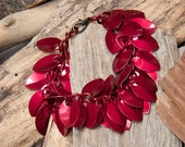 Red Bracelet in Shaggy Scales for Ladies or Teen Girls