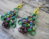 Christmas Tree Ornaments  Chainmaille Earrings