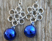 Blue Christmas Ornaments Japanese Flower Earrings Silver Plate Earwires