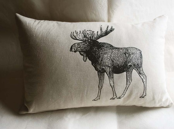 Vintage Moose Pillow, Rustic Home Decorative Pillow, Cottage Home Decor, Canadian Wilderness