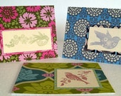 Rubber Stamped Set of 3 All Occasion Greeting Cards - Amy Butler Bird Love in Flight