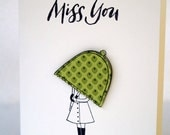 Rubber Stamped Greeting Card - Green Polka Dot Umbrella - Miss You