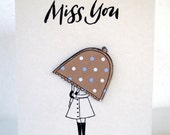 Miss you Greeting Card - Chocolate Brown Polka Dot Umbrella