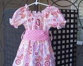 Toddler/Girls Paisley Peasant Dress with Polka Dot Sash
