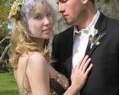 KORRI --  Blusher Wedding Bridal Birdcage Veil, Available in Choice of White, Ivory or Black