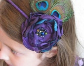 MARLEY II - Flower Headband Eggplant Purples and Jade w/ Hand Beaded Cluster Embellishment & Double Peacock Feathers