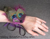 ADRIENNE Wristlet - Peacock Feather Corsage Cuff Bracelet w/ Fuchsia Feathers, Beaded Cluster & Ribbons - Customize in Your Wedding Colors