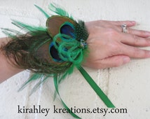 ADRIENNE Wristlet - Peacock Feather Corsage Bracelet Cuff Beaded Cluster Ribbon Bow Tie Prom Bridesmaid Holiday Christmas Party Customizable