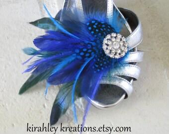 OCEANE -- Something Blue Turquoise Royal Cobalt Feather Rhinestone Shoe Clips Wedding Bridal Bride Bridesmaids Accessory Customizable