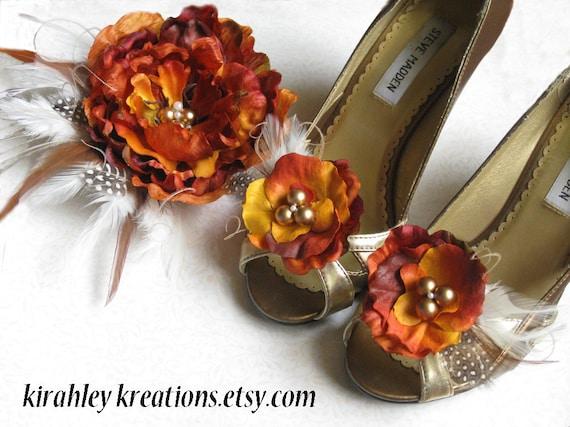 FALL -- Burnt Orange and Gold Peony Flower Bride Fascinator Shoe Clip Set Bridesmaids Headpiece Autumn Fall Harvest Thanksgiving Wedding
