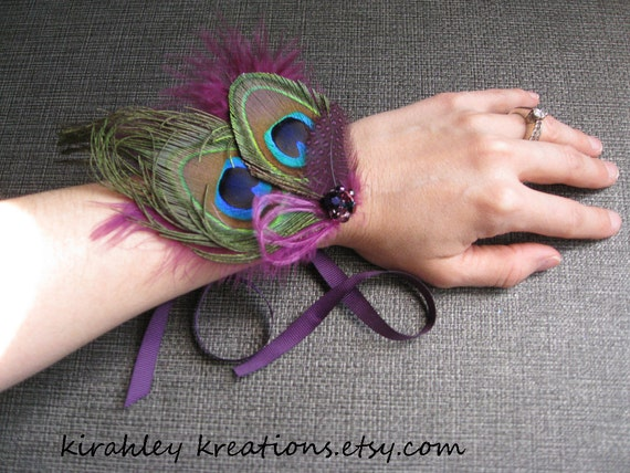 Wedding Bridesmaid Prom Peacock Fuchsia Feather Corsage Cuff Bracelet Wristlet Beaded Cluster Ribbon Ties ADRIENNE Customize in Your Colors