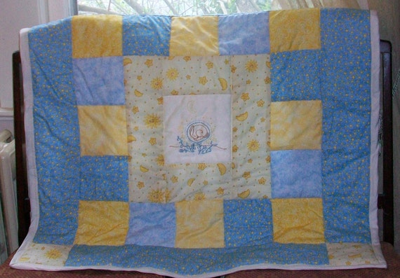 Hand Embroidered Patchwork Baby Quilt