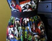 Halloween Apron  Retro Inspired in Monster Movie Print Fabric